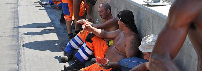 Sindicato pede suspensão das obras acima dos 35°C