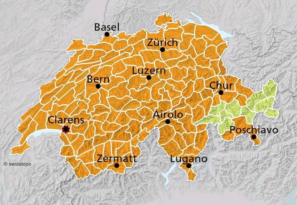 Suíça em alerta laranja