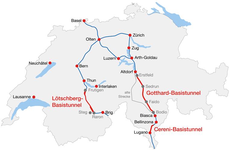 O túnel de Ceneri foi a fase final da construção da Nova Ligação Ferroviária através dos Alpes (NLFA).