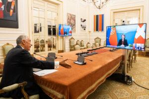 Reunião, por videoconferência a partir do Palácio de Belém, com a Presidente da Confederação Suíça, Simonetta Sommaruga